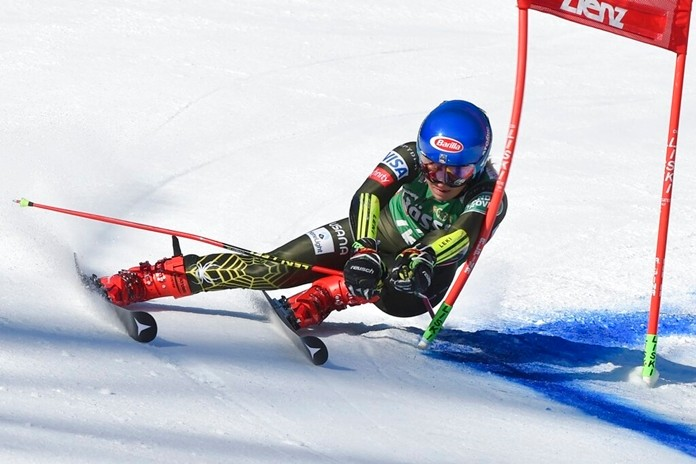 United States' Mikaela Shiffrin competes in an alpine ski, women's World Cup giant slalom, in Lienz, Austria, Saturday, Dec. 28, 2019. (AP Photo/Piermarco Tacca)