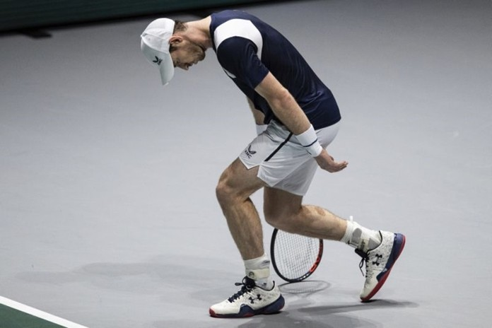 Great Britain's Andy Murray misses a point during the Davis Cup tennis match against Netherlands' Tallon Griekspoor in Madrid, Spain, Wednesday, Nov. 20, 2019. (AP Photo/Bernat Armangue)