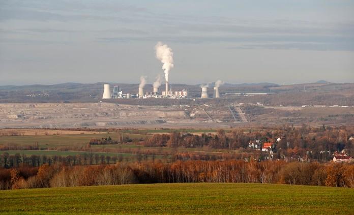 The Turow lignite coal mine and Turow power plant near the town of Bogatynia, Poland, Tuesday, Nov. 19, 2019. (AP Photo/Petr David Josek)