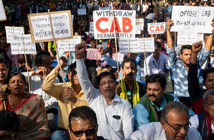 Indian students and activists shout slogans during a protest against the Citizenship Amendment Bill (CAB) in Gauhati, India, Friday, Dec. 6, 2019. (AP Photo/Anupam Nath)