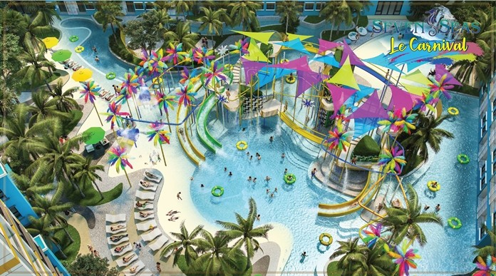 One of Le Carnival's many Swimming Lagoons & Pools, Lazy River, Kids pools and Playground area.