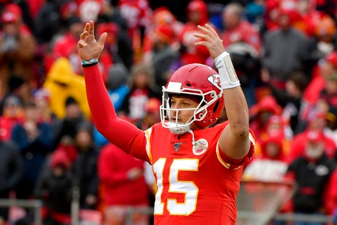 Kansas City Chiefs quarterback Patrick Mahomes (15) celebrates following an NFL football game against the Los Angeles Chargers in Kansas City, Mo., Sunday, Dec. 29, 2019. Kansas City Chiefs won 31-21. (AP Photo/Ed Zurga)