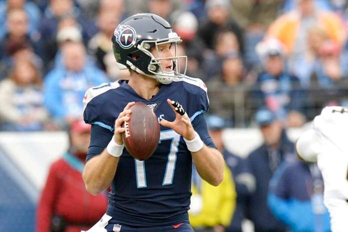 Tennessee Titans quarterback Ryan Tannehill (17) passes against the New Orleans Saints in the first half of an NFL football game Sunday, Dec. 22, 2019, in Nashville, Tenn. (AP Photo/Mark Zaleski)