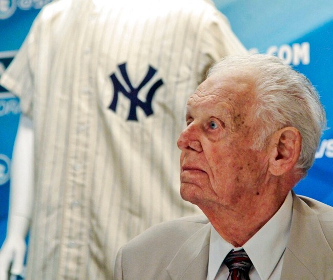 In this June 28, 2012, file photo, New York Yankees great Don Larsen reacts during a news conference announcing the auction of his 1956 perfect game uniform, in New York. (AP Photo/Bebeto Matthews, File)