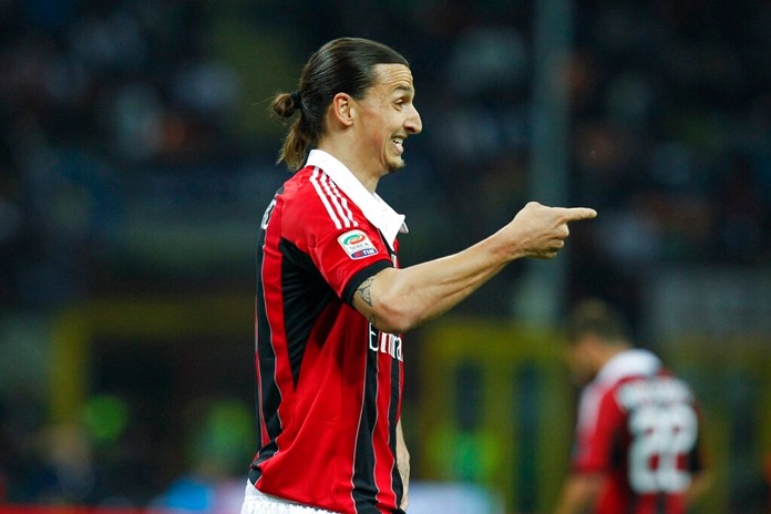 In this photo taken on Sunday, May 6, 2012, AC Milan forward Zlatan Ibrahimovic reacts during a Serie A soccer match between Inter Milan and AC Milan, at the San Siro stadium in Milan, Italy. Ibrahimovic will join AC Milan, the Milanese club announced Friday, Dec. 27, 2019 on its official twitter page. (AP Photo/Luca Bruno)