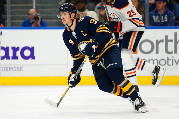 Buffalo Sabres forward Jack Eichel (9) skates during the third period of an NHL hockey game against the Edmonton Oilers, Thursday, Jan. 2, 2020, in Buffalo, N.Y. (AP Photo/Jeffrey T. Barnes)