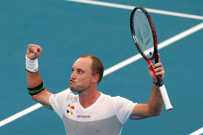 Steve Darcis of Belgium reacts to winning a match against Alexander Cozbinov of Moldova during their ATP Cup tennis match in Sydney, Friday, Jan. 3, 2020. (AP Photo/Steve Christo)