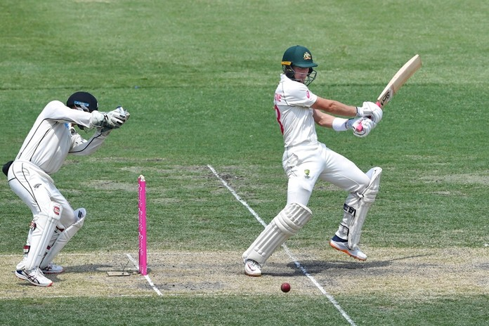 Australia's Marnus Labuschagne bats during his double century on day two of the third cricket test match between Australia and New Zealand at the Sydney Cricket Ground in Sydney, Saturday, Jan. 4, 2020. (Andrew Cornaga/Photosport via AP)