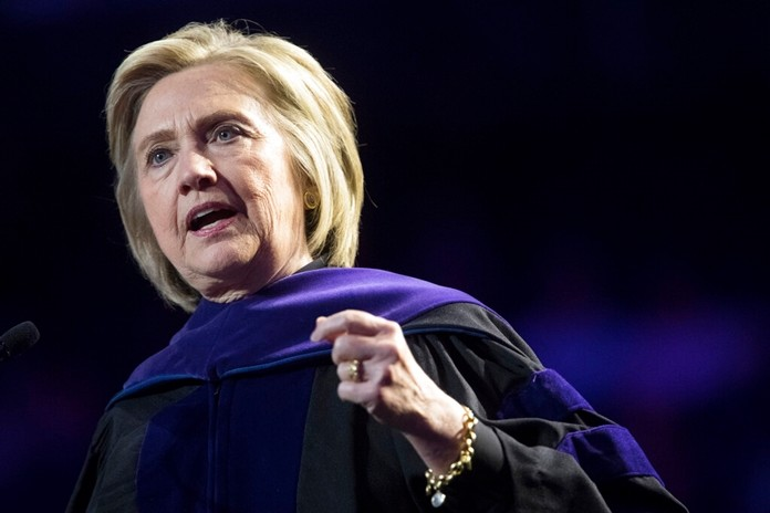 In this Wednesday, May 29, 2019 file photo, former Secretary of State Hillary Clinton delivers Hunter College's commencement address in New York.(AP Photo/Mary Altaffer, FILE)