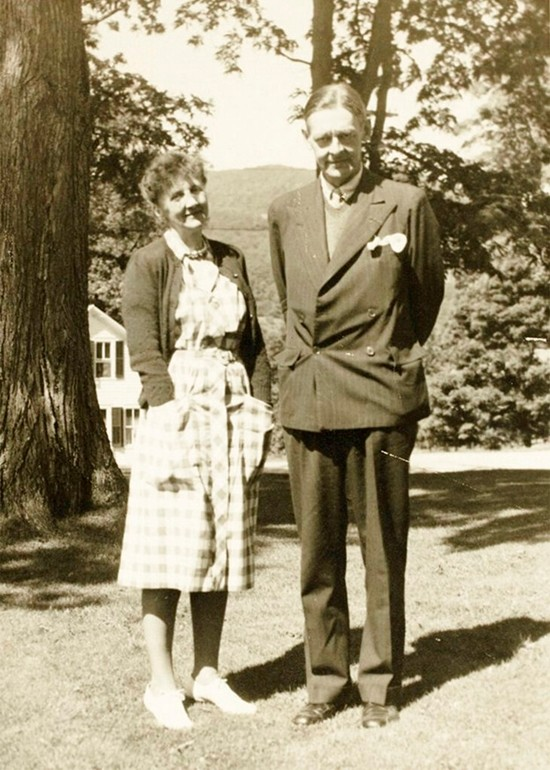 Emily Hale and T.S. Eliot pose in a 1946 family photo in Dorset, Vermont. (Princeton University Library via AP)