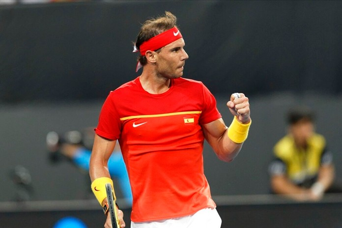 Rafael Nadal of Spain reacts after winning a point against Pablo Cuevas of Uruguay during their match at the ATP Cup in Perth, Australia, Monday, Jan. 6, 2020. (AP Photo/Trevor Collens)