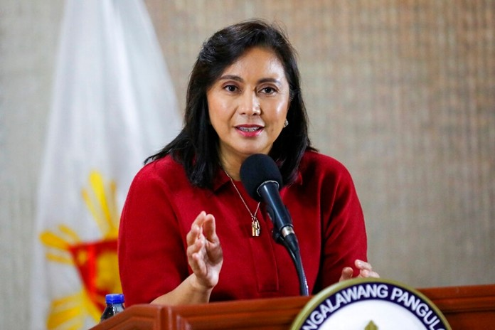 Philippine Vice President Leni Robredo delivers her statement in suburban Quezon city, northeast of Manila, PhilippinesMonday, Jan. 6, 2020. (Office of the Vice President via AP)