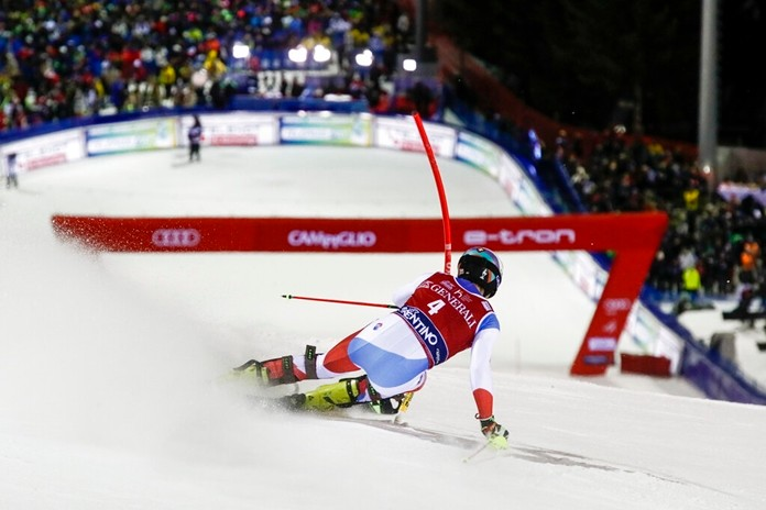 Switzerland's Daniel Yule competes on his way to win an alpine ski, men's World Cup slalom in Madonna di Campiglio, Italy, Wednesday, Jan. 8, 2020. (AP Photo/Gabriele Facciotti)