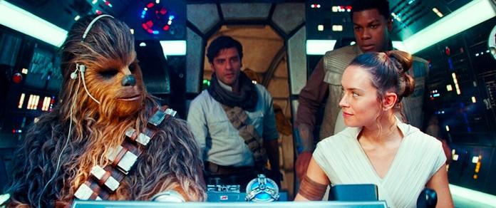 "From left, Joonas Suotamo as Chewbacca, Oscar Isaac as Poe Dameron, Daisy Ridley as Rey and John Boyega as Finn in a scene from ""Star Wars: The Rise of Skywalker."" (Disney/Lucasfilm Ltd. via AP)"