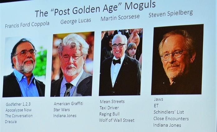 Neil Davidson presented this video slide showing the current four main moguls in the film industry, Coppola, Lucas, Scorsese and Spielberg.