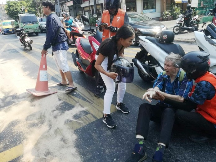 The unidentified foreigner suffered a broken arm when his motorcyclist skidded on oil spilled from a leaky truck in South Pattaya.