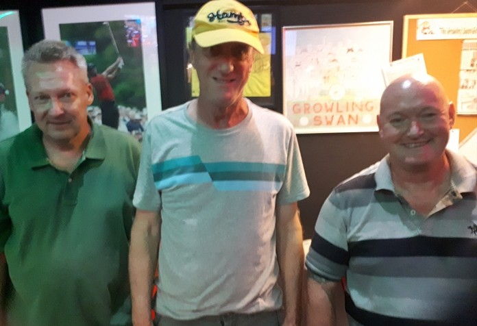(L to R) Volker Buley, Thursday's winner bill Steinmann, and Peter Bye!