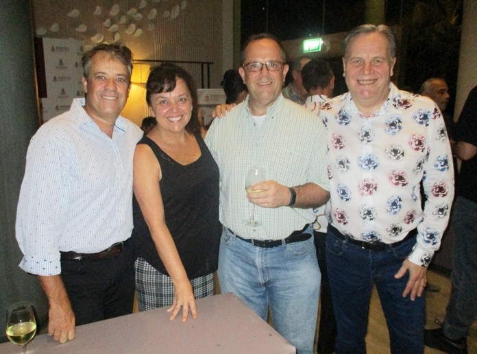 Trevor Moolman of Frome Medical with his wife Donna who is FD of Lucy Electric, with John Casella, partner at PKF with Simon Matthews, MD of Manpower.