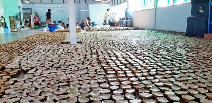 Part of the 10,000 coconut rice cakes ready to be packed and delivered.
