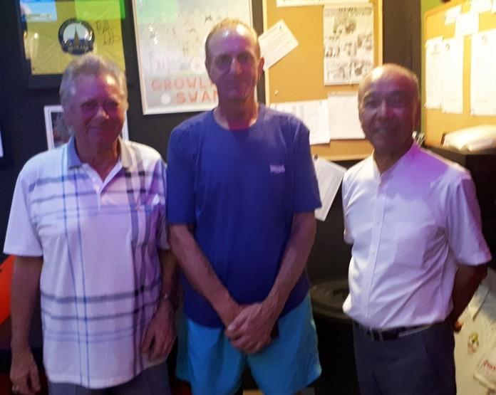 (L to R) Keith Buchanan, Monday's winner Dave Maw, and Mashi Kaneta.