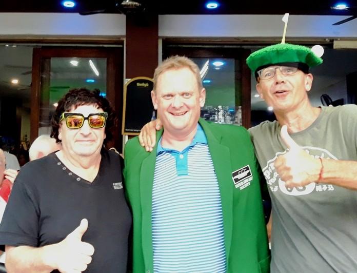 Winner B flight, John Malet DeCarteret, with Carl Lovatt (L) and Niall Caven (R).