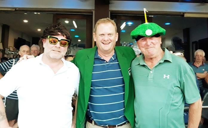 Winner B flight, John Malet DeCarteret, with Kevin Roberts (L) and John Pearce (R).