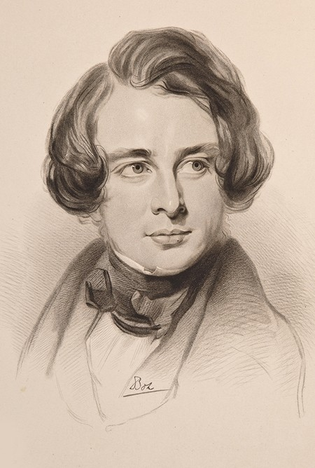 Sketch of Dickens in 1842.