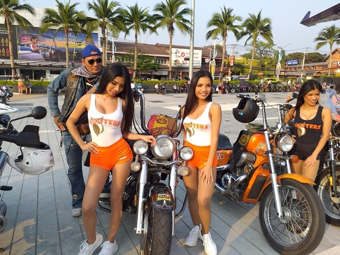 Hooters girls liven up the press conference.