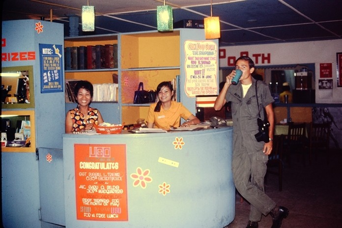 The U-Tapao USO Reception Desk. Pat Koester said one of the reasons the guys felt so comfortable at the USO was because there was no alcohol and no bar girls, just a very friendly Thai staff.