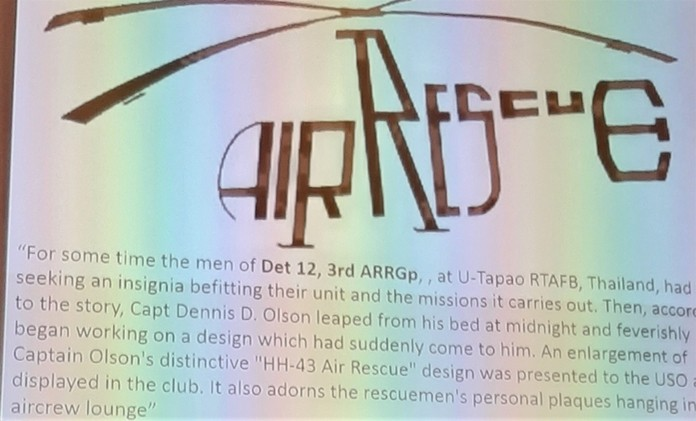 """Look closely at this emblem which adorned a wall at the USO Club, Pat Koester said, and you will see the """"helicopter"""" outline actually says Air Rescue, representing the helicopter squadron based at U-Tapao."""