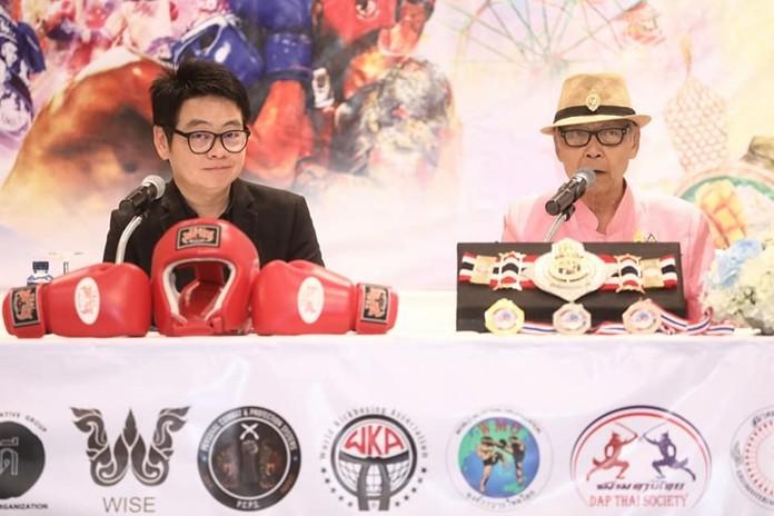 Tourism advisor Rattanachai Sutidechanai and Chinawut Sirisamphan, President of the Khru Muay Thai Association announce the fifth-annual International & Thai Martial Arts Games and Festival will take place March 8-16.