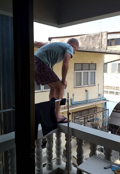 Pattaya police saved a German man from jumping from a third-floor balcony in an apparent suicide attempt.