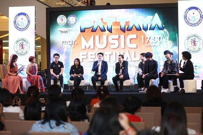 Deputy Culture Minister Poramet Ngampichet chairs a February 10 planning meeting with regional tourism officials for this year's Pattaya Music Festival scheduled to take place March 20-21.