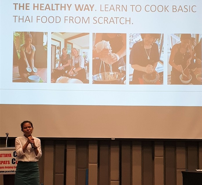 Cooking from scratch and using natural ingredients is the healthy way to cook good Thai food, is what Sasi's emphasized in her presentation to the PCEC.