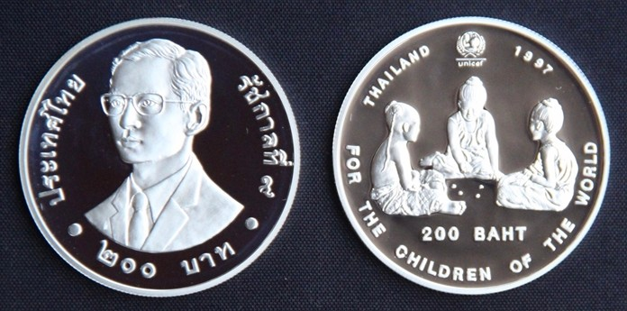 UNICEF 200 Baht Silver commemorative coin.