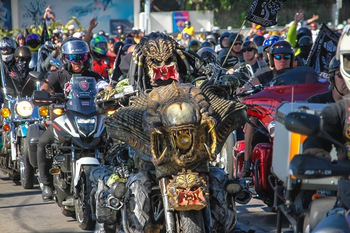 """Tens of thousands of bikers from around the world converged upon Pattaya for the annual Burapa Bike Week Feb. 13-15 at the Eastern National Indoor Sports Stadium on Soi Chaiyapruek 2. The finale, shown here, featured the annual bike parade through the city emphasizing safe driving, helmet use, and the """"unbounded love of brotherhood""""."""