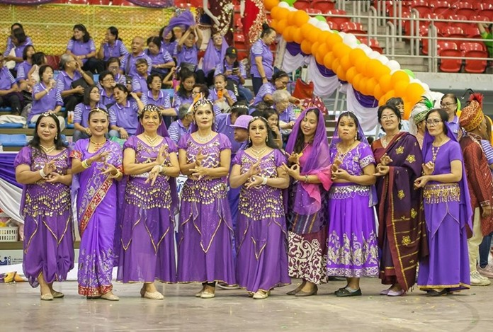 The Purple Team cheerleaders dressed in beautiful Indian style.