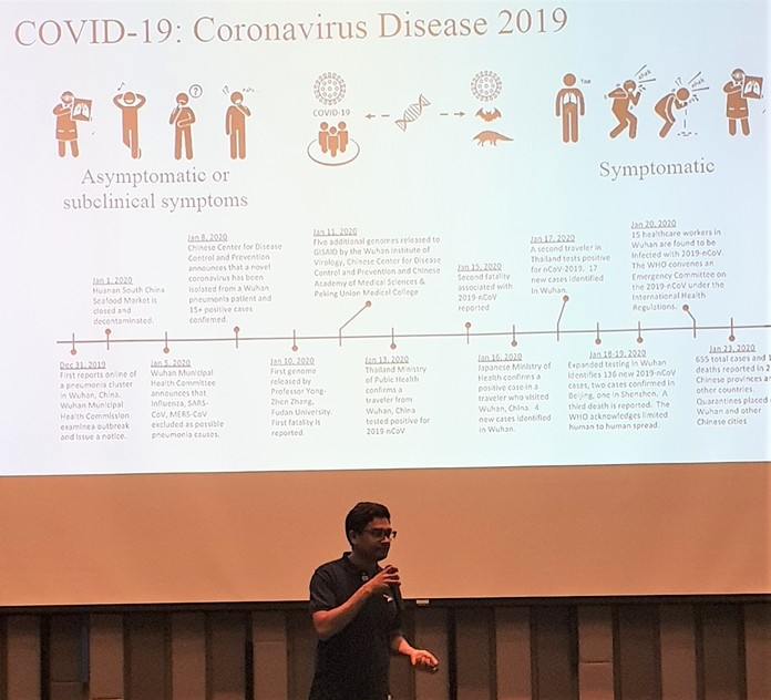 Dr. Hisham Imad displayed this slide showing the timeline for the Coronavirus (COVID-19) as he imparted important information that is currently available on this new virus including what is known about it and how it spreads.
