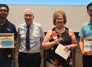 MC Ann Ensell presents the PCEC's Certificates of Appreciation for the presenters from Bangkok, Dr. Hisham and Dr. Wasin. Professor Andy Barraclough, from Pattaya, has been the recipient of several Certificates for his previous presentations to the PCEC.