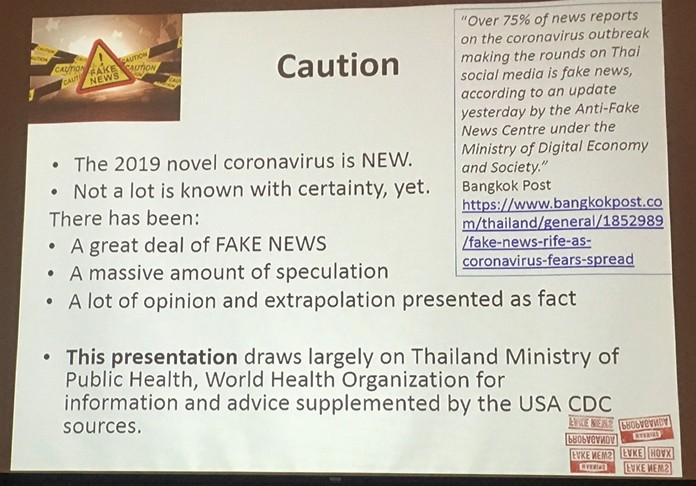 "This slide presented Professor Andy Barraclough warns about the amount of ""Fake News"" on the Coronavirus that abounds in the media."
