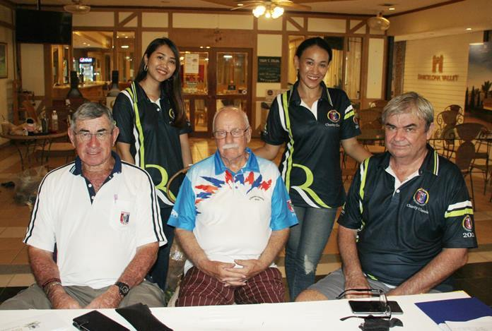 The serious looking directors, VP Tim Knight, Nigel Cannon and Jack Moseley are watched over by Prueksa Lakhan (Fang) and Ingkarat Chaimongkon (Ing) GM of the Pattaya Sports Club.