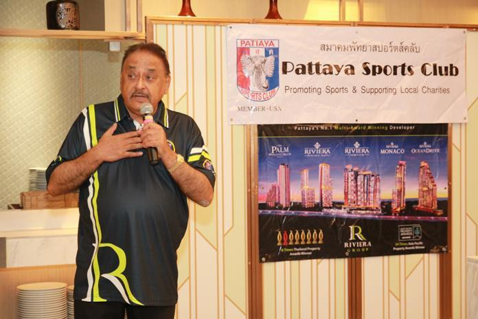 Peter Malhotra extolls the objectives of the Pattaya Sports Club which is to Promote Sports and Support Local Charities. He also thanked the Riviera Group for their generous support for the PSC Charity Classic.