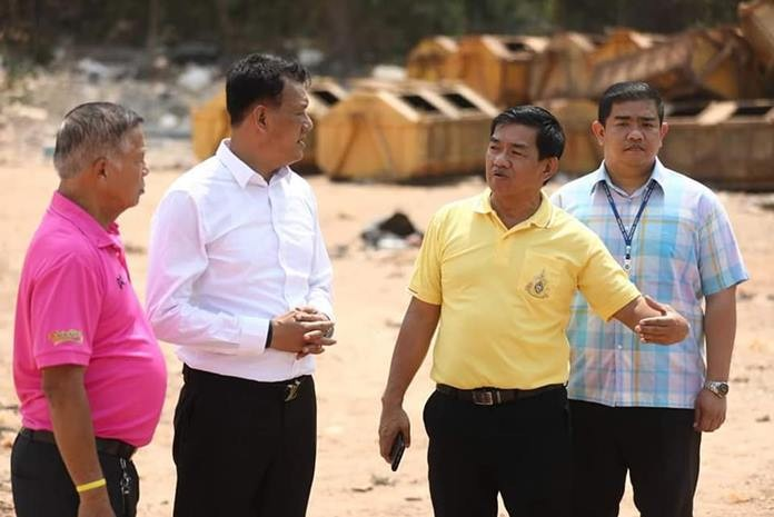 Deputy Mayor Manote Nongyai and Pattaya officials inspect the garage situation on Koh Larn - if there's anything positive about the plunge in Chinese tourism to the tourist island, it could be because the break has given Pattaya a chance to resolve the island's chronic garbage problem.