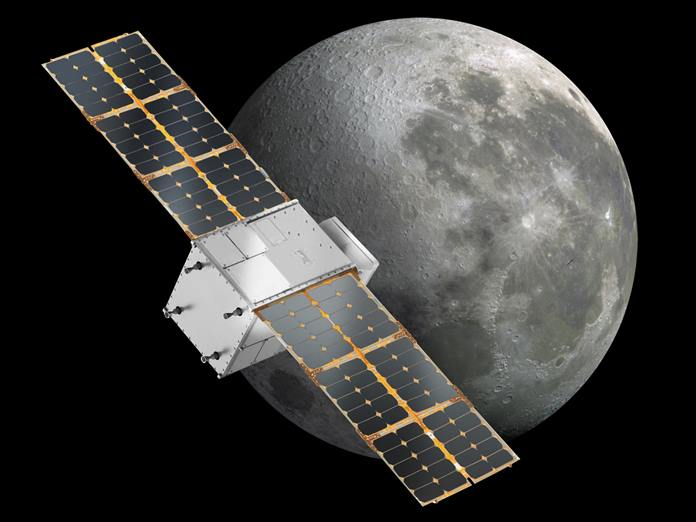 Capstone above the moon: Illustration of the Cislunar Autonomous Positioning System Technology Operations and Navigation Experiment (CAPSTONE). Credits: NASA.