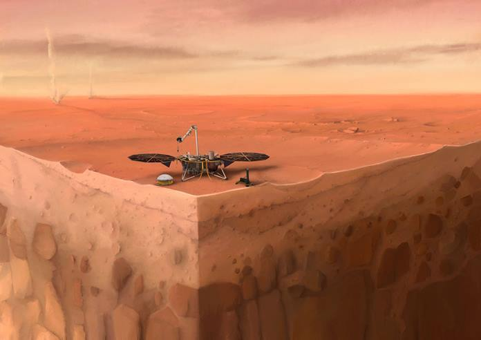 In this artist's concept of NASA's InSight lander on Mars, layers of the planet's subsurface can be seen below and dust devils can be seen in the background. Credits: IPGP/Nicolas Sarter