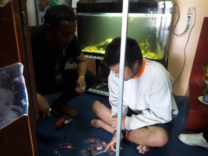 Sattahip authorities arrested small-time drug pusher Kritsana Janthai, but hope to use his arrest to land bigger fish.