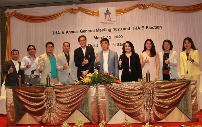 The 2020-2022 THA (Eastern Chapter) Board of Directors (l-r) Paitoon Boonsri, Group GM of SP Hotels Group, Acqua Hotel Pattaya, Jeerasak Jeerapat, Business Development, JP Villa Hotel, Boonkerd Suksrikarn, GM, Sunbeam Hotel, Chairat Rattanopas, GM The Leela Resort & Spa Pattaya, Sanpech Supabowornsthian, Asst. MD Long Beach Garden Hotel & Spa, Phisut Sae-khu, Resident Manager, Asia Pattaya Hotel, Phakamon Wongyai, GM Brighton Hotel Pattaya, Pattamon Mekavarakul, Vice President Cape Dara Resort Pattaya, Morrakot Kuldilok, GM Bella Express Hotel, and Saratsanun Asavachaisophon, Vice MD Grand Jomtien Palace.
