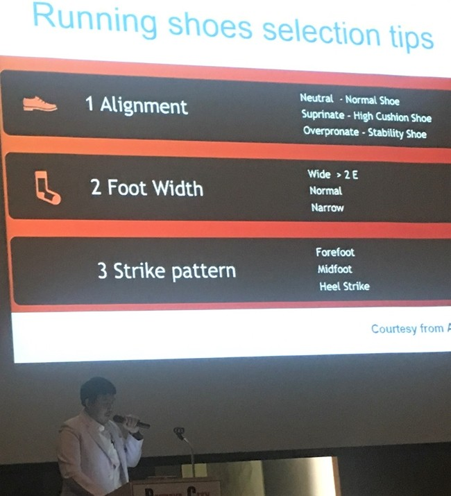 Focusing on how to avoid ankle and foot injury while running, Dr. Tanarat gives some tips on how to select the proper footwear.