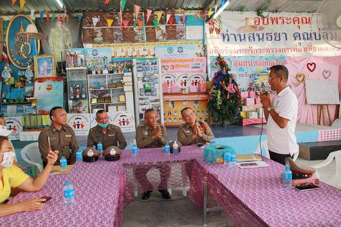 Wirat Joyjinda, president, and members of the Soi Khopai Community, asked Pattaya deputy police chief Pol. Col. Chainarong Chai-In to go easy on them because entertainment venue closures and a steep drop-off in tourists has left his residents with no money to pay fines.