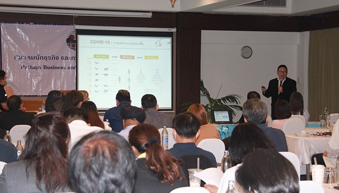 Speakers from the Banglamung District Public Health and Bangkok Hospital Pattaya talked about the need to limit large gatherings to prevent spread of the virus.